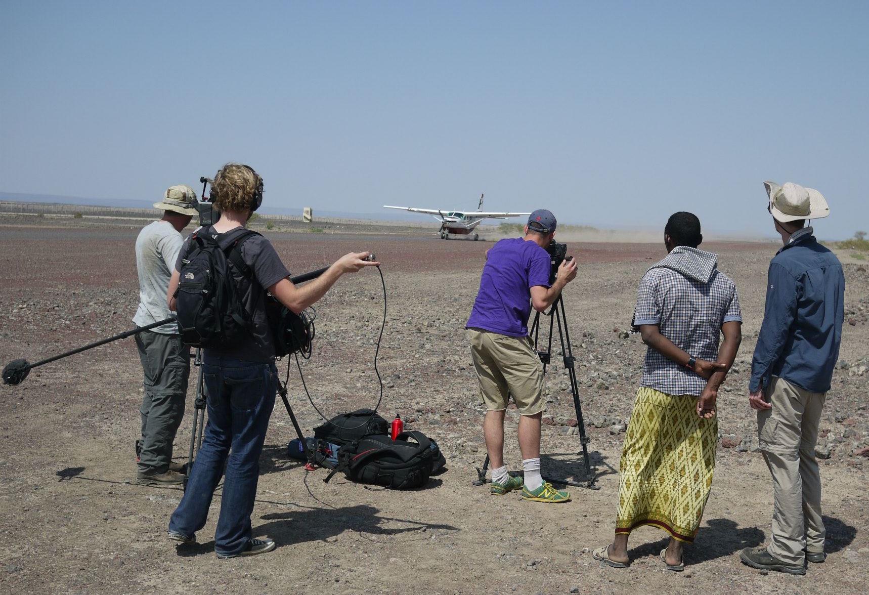 FILMING A BUSH PLANE LANDING IN ETHIOPIA (PURPLE TSHIRT IS ME)