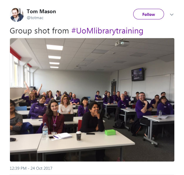 Tom Mason Training Tweet