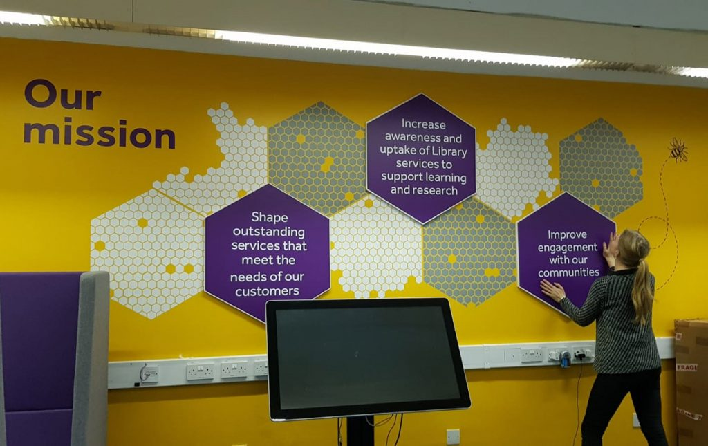 The Library Marketing Team 'Our Mission' wall