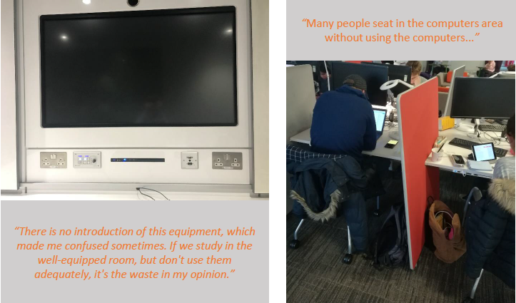 """1 - AGLC sharing screen: """"There is no introduction of this equipment, which made me confused sometimes. IF we study in the well-equipped room, but don't use them adequately, it's the waste in my opinion."""" 2 - Study area: """"Many people seat in the computer areas without using the computers."""""""